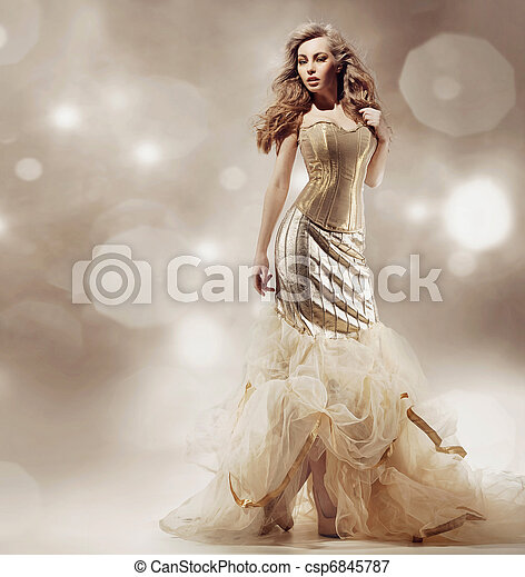 excitado, loiro, posar, beleza - csp6845787