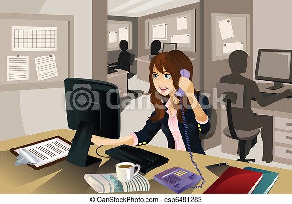 executiva, trabalhando escritório - csp6481283