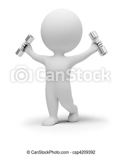 exercícios, pequeno, dumbbells, 3d, pessoas - csp4209392