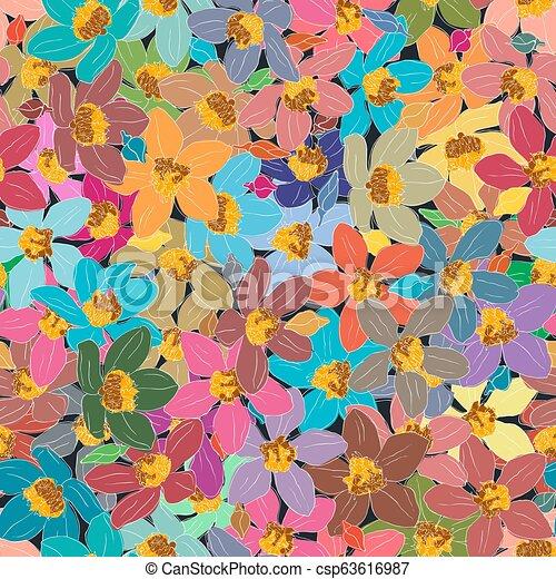 experiência., flor, seamless, coloridos, elemento - csp63616987