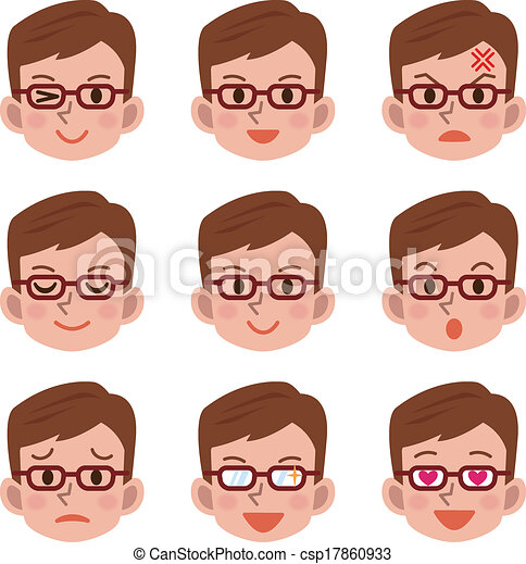 expressão, macho, facial - csp17860933