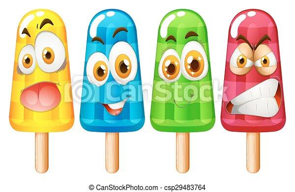 expressão, popsicle, facial - csp29483764