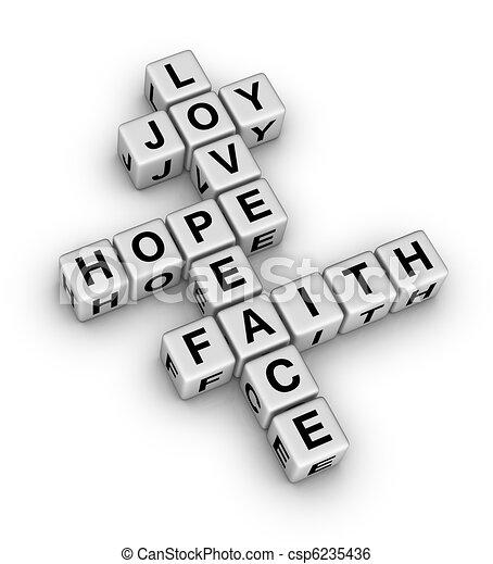 fé, paz, amor, alegria, esperança - csp6235436