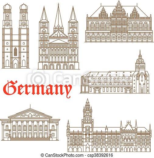 famosos, alemão, marcos, ícone, arquitetura - csp38392616