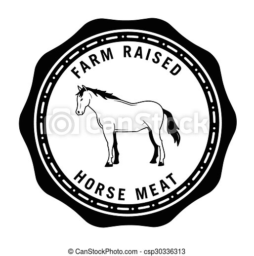 fazenda, levantado, emblema, cavalo, carne - csp30336313