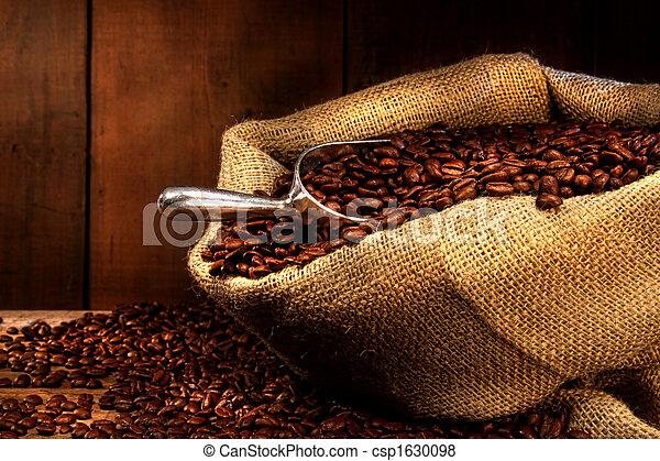 feijões, café, saco burlap - csp1630098