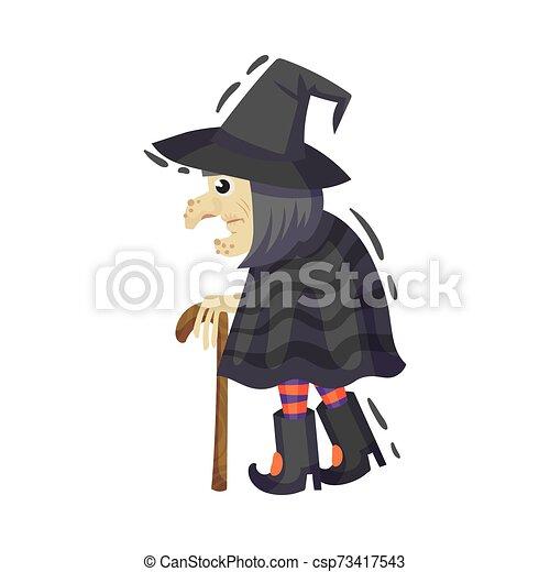 feiticeira, vetorial, branca, muito, antigas, ilustração, experiência., cane. - csp73417543