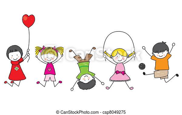 feliz, crianças, tocando - csp8049275