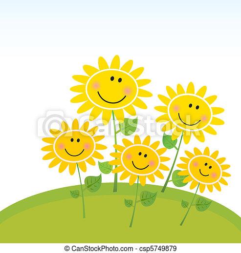 feliz, girassóis, jardim, primavera - csp5749879