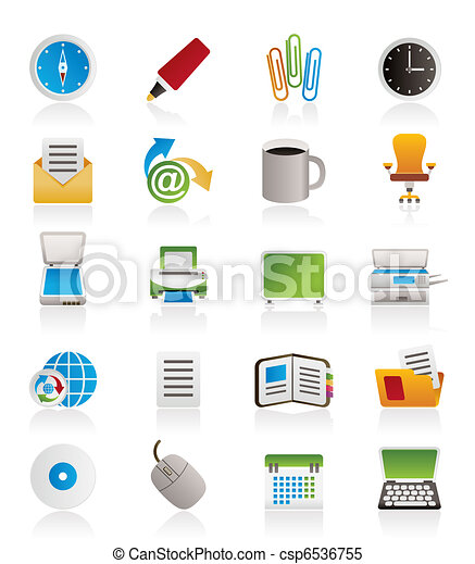 ferramentas, escritório negócio, ícones - csp6536755