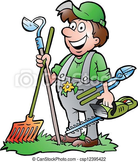 ferramentas, ficar, jardineiro - csp12395422