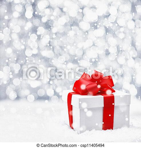 festivo, neve, presente, natal - csp11405494