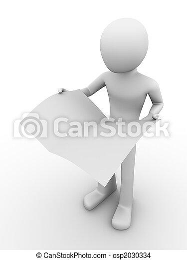 ficar, jornal, segurando, homem - csp2030334