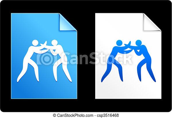 figura, boxe, vara, fundo - csp3516468