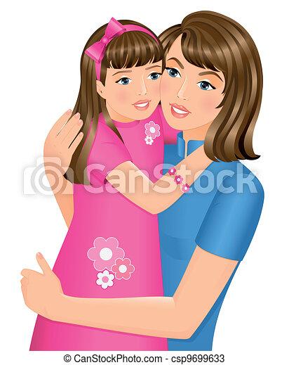 filha, abraçando, dela, mãe - csp9699633