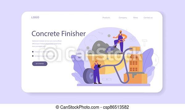 finisher, ou, page., profissional, construtor, bandeira, teia, concreto, aterragem - csp86513582