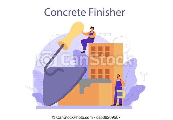 finisher, preparar, profissional, trabalhador, builder., concreto - csp86209507