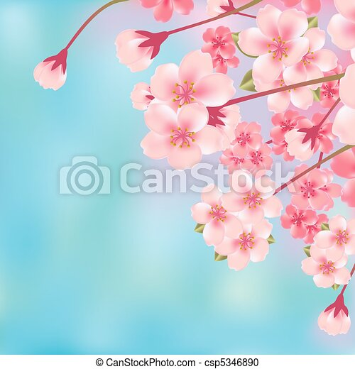 flor, cereja, abstratos - csp5346890