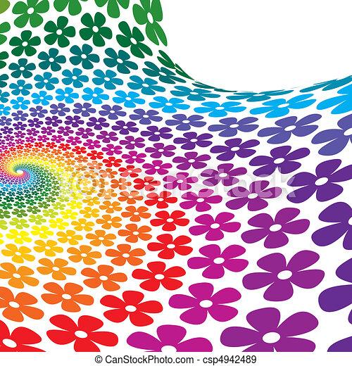 flor, coloridos, espiral, fundo - csp4942489