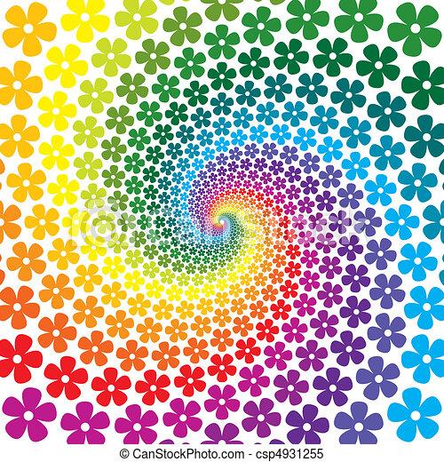 flor, coloridos, espiral, fundo - csp4931255