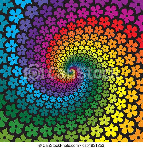 flor, coloridos, espiral, fundo - csp4931253