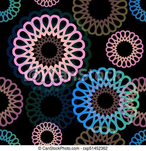 flor, coloridos, padrão, néon, seamless, fundo - csp51452362