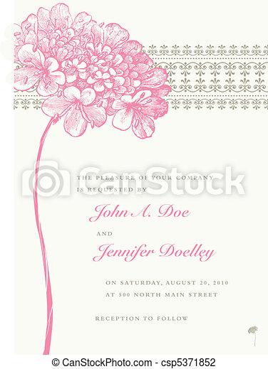 flor cor-de-rosa, quadro, vetorial, fundo, casório - csp5371852