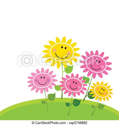 flor, feliz, primavera, jardim - csp5749882