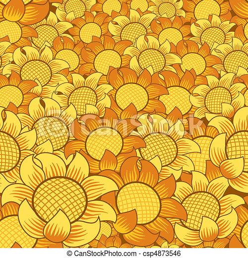 flor, seamless, fundo amarelo, laranja, repetindo - csp4873546
