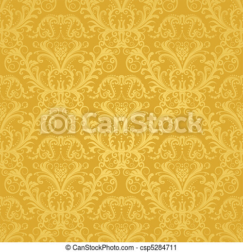 floral, dourado, papel parede, luxo - csp5284711