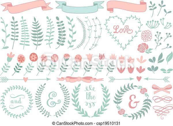 floral, laurel, jogo, grinalda, vetorial - csp19510131