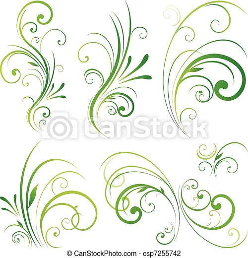 floral, ornamento, scroll - csp7255742