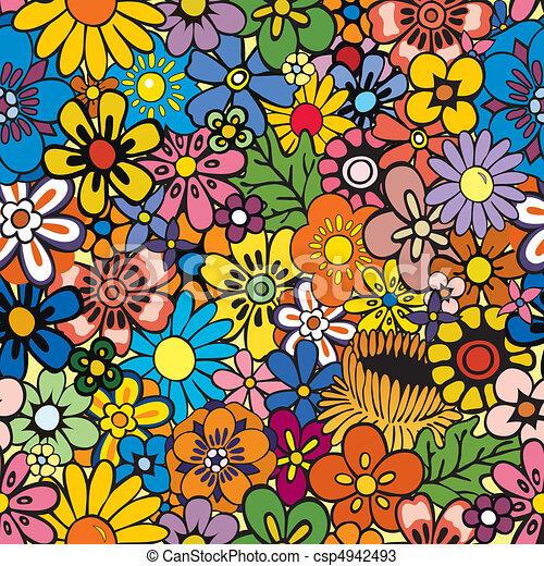 floral, repetindo, fundo - csp4942493