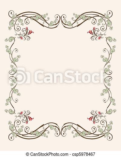 floral, vindima, quadro, tulips - csp5978467