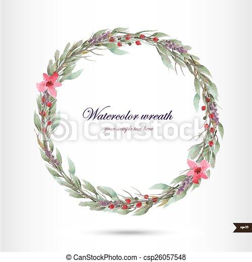 flores, aquarela, grinalda - csp26057548