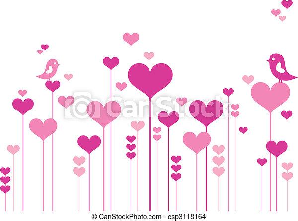 flores, coração, pássaros - csp3118164