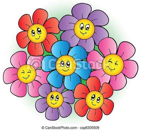flores, grupo, caricatura - csp6305509