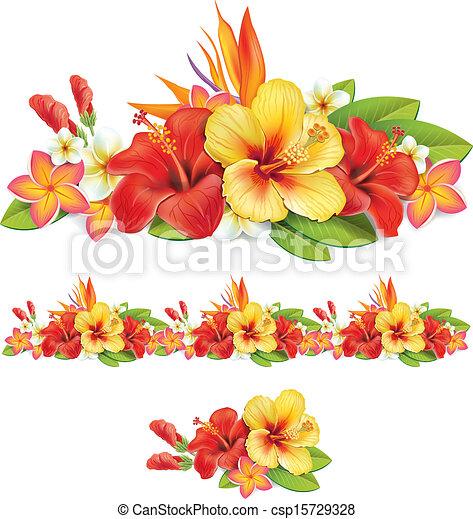 flores tropicais, guirlanda - csp15729328