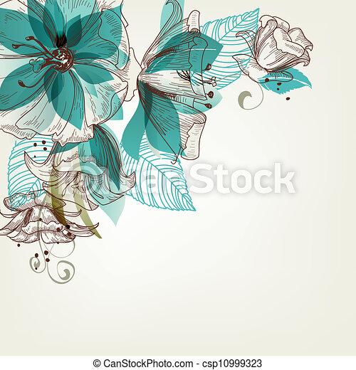 flores, vetorial, retro, ilustração - csp10999323