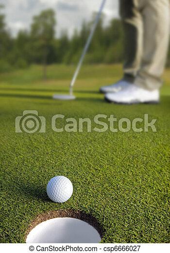 foco, bola, pôr, golfer, seletivo, golfe - csp6666027