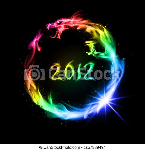 fogo, dragão, arco íris - csp7339494