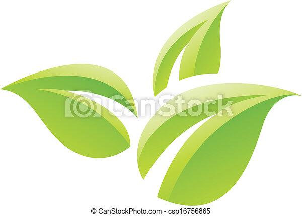 folhas, verde, lustroso, ícone - csp16756865