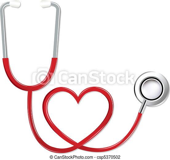 forma coração, estetoscópio - csp5370502