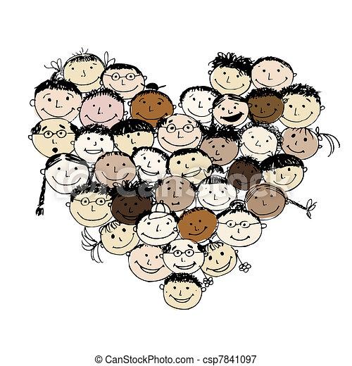 forma coração, povos, desenho, seu, feliz - csp7841097