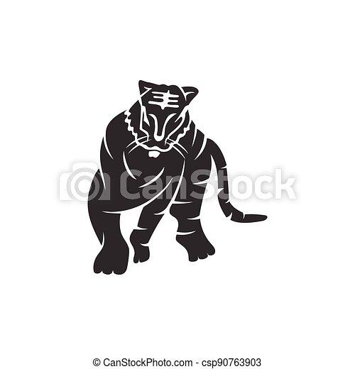 forte, ilustração, tiger, modelo, isolado, corporal, mascote, animal - csp90763903
