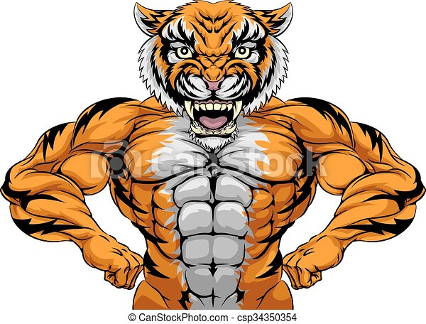 forte, mascote, tiger, esportes - csp34350354