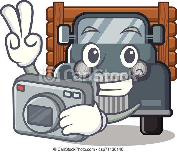 fotógrafo, forma, caminhão velho, mascote - csp71138148