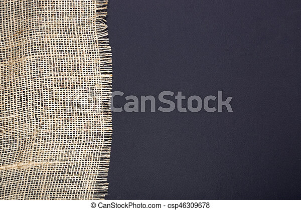 fragmento, pretas, burlap, fundo - csp46309678