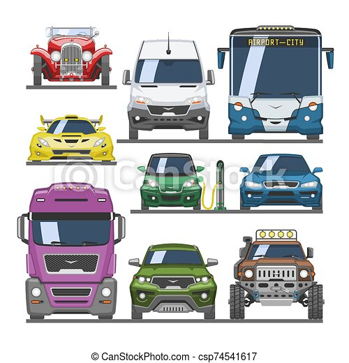 frente, citycar, fundo, transporte, offroad, carga, vetorial, car, caminhão, jogo, vista, branca, ilustração, entrega, automático, sportcar, veículo, isolado, mockup, automóvel - csp74541617