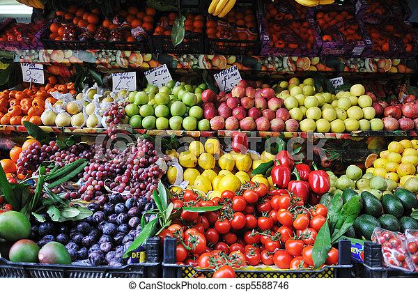 frutas, mercado fresco, legumes - csp5588746